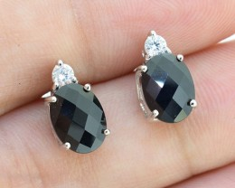 Natural Black Sapphire 925 Sterling Silver Earrings (SSR00268 )