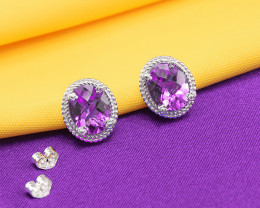Natural Amethyst 925 Sterling Silver Earring (SSE0266)