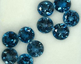 9.64 Cts Natural Blue Topaz 6 mm Round 10 Pcs Parcel