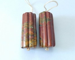 92ct Natural Multi Color Picasso Jasper Earring Beads(17110302)