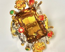 'Majestic Grove' Magnificent Citrine Sapphire Emerald Ring Size 8