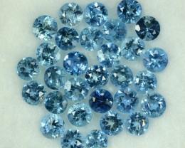 3.73 Cts Natural Blue Aquamarine 3.50 mm Round 30 Pcs Parcel