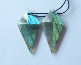38.5ct Natural Faceted Labradorite Earring Beads For Women(17110403)