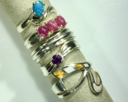 Xmas Silver gemstone Ring Trade deal 6 Rings PPP1601