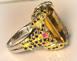 Outstanding Citrine Ruby Sapphire Sterling Silver Ring No Reserve