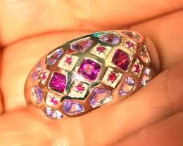 Tanzanite Ruby Rhodolite Garnet Sterling Silver Ring Size 8