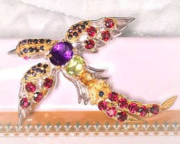 Large Gem studded Bird of Paradise - Garnet, Sapphire, Citrine, Amethyst, P