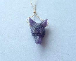 18.5ct Natural Amethyst Handcarved Wolf Head Necklace Pendant(17110502)