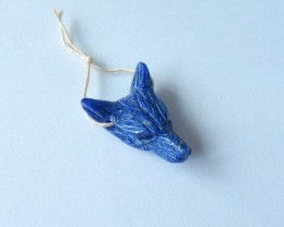 19.5ct Natural Lapis Lazuli Handcarved Wolf Head Necklace Pendant(17110503)