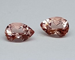 0.80 Crt Cor De Rosa Morganite Pair Stunning  Gemstone   Jl143