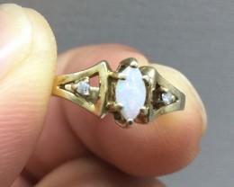 Wonderful $1500 Nat 0.30ct Designer Opal & Diamond Ring 10K Sol Gold