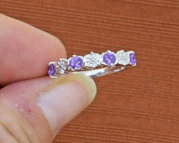 Amethyst 925 Sterling Silver Ring SIZE 6 US (SSR0281)