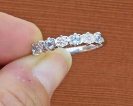 Aquamarine 925 Sterling Silver Ring SIZE 8 (SSR0280)