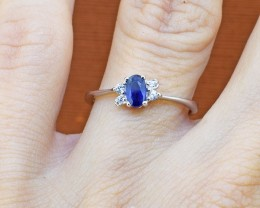 Blue Sapphire 925 Sterling Silver Ring SIZE 5 (SSR0275)
