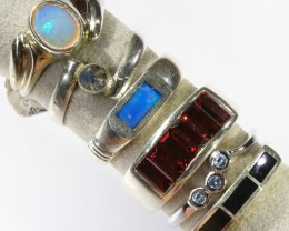 Xmas ring deal, 6 mixed  gemstones in silver PPP 1605
