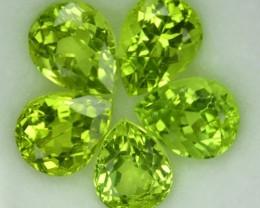 6.10 Cts Natural Pakistan Green Peridot Pear Cut 5 Pcs Parcel