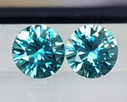 3.89cts, Blue Zircon,  Precision Cut,  Properly Orientated C axis