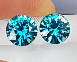 4.11cts, Blue Zircon,  Precision Cut,  Properly Orientated C axis