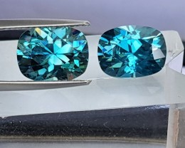 9.40cts, Blue Zircon,  Precision Cut,  Properly Orientated C axis