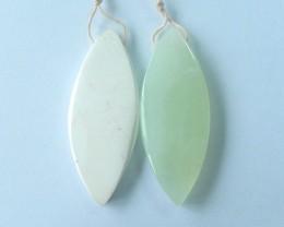65ct Natural Howlite,Nephrite Jade Intarsia Earring Beads(17110701)