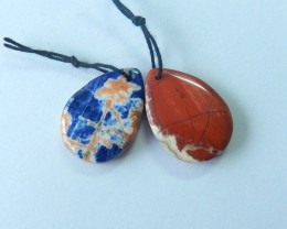 31.5ct Natural African Sodalite,Red River Jasper Intarsia Earring Beads(171
