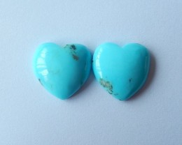 22ct Natural Sleepy Beauty Turquoise Sweety Heart Cabochon Pair(171100801)