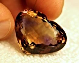 Fancy Heart shaped Ametrine,39.15cts,VVS1,Bolivian Beauty