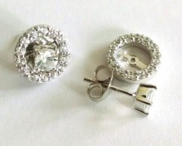 White topaz 925 Sterling silver earrings #7817