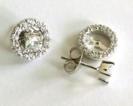 White topaz 925 Sterling silver earrings