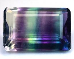 13.67 Cts Natural Multi Color Fluorite Octagon Cut Brazil Gem
