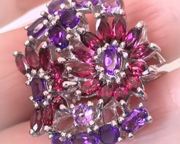 So pretty! Amethyst Rhodolite Garnet Flower Ring size 9 Sterling