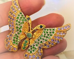 FOR DES 'Midsummer Butterfly' Emerald Sapphire Tanzanite Diopside Sterling