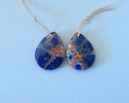 19ct Natural Mookite Jasper,Red River Jasper Intarsia Earring Beads(1711090