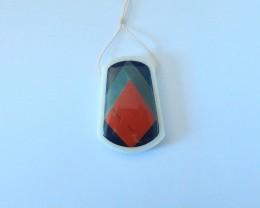 61.5ct Natural Obsidian,Amazonite,Red River Jasper Intarsia Pendant Beads(1
