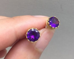 Splendid $1200 Natural 0.80ct. Amethyst Earrings 10K Sol Ylw Gold