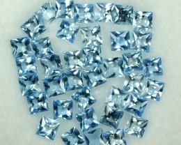 5.43 Cts Natural Santa Aquamarine 3 mm Square 38 Pcs Parcel