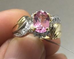 Cert. $1600 Nat 1.87ct Pink Sapphire &Diamond Cocktail Ring 14K Sol Ylw