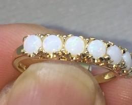 Wonderful Cert. $1200 Nat 1.05ct 7 Opal Gold Ring 10K Sol Ylw Gold