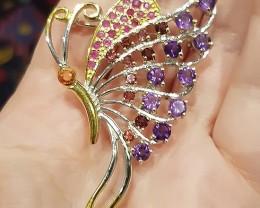 Sapphire Garnet Ruby Amethyst Butterfly Brooch Large