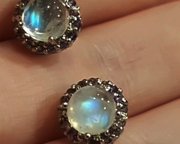 Fine Moonstone Amethyst Earrings Sterling Silver No Reserve