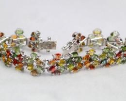 108.50ct Sterling Silver 925 Natural Fancy Sapphire Bracelet GW31