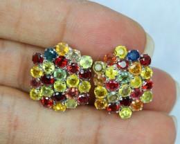 41.30ct Sterling Silver 925 Natural Fancy Sapphire Earring Lot GW35