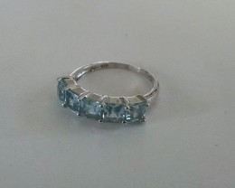 Swiss Blue topaz 925 Sterling silver ring