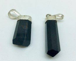 43.5 Crt Natural Black Tourmaline Pandent with 925 Silver