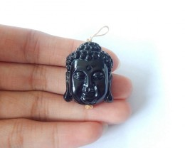 61ct Natural Obsidian Handcarved Buddha Head Necklace Pendant(17111409)