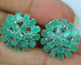 43.90Ct Sterling Silver 925 Natural Emerald Earring V64
