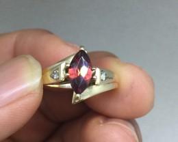 Stunning $1250 Nat 1.10ct Designer Garnet Ring 10K Sol Gold Untreated