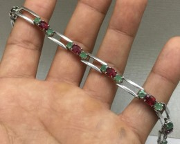 Superb Natural 68tcw. Red Ruby &Emerald Bracelet Untreated