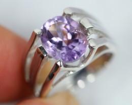 NR Lot 07 ~ 26.9Ct Natural Purple Amethyst 925 Silver Ring Sz6.75