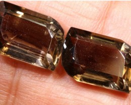14CTS SMOKY QUARTZ NATURAL PAIR TBG-2667